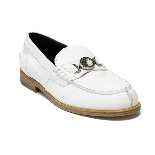 afa7b4f5e93 Shop Versace Men s Medusa Buckle Leather Penny Loafer Shoes White ...