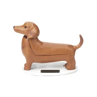 "The Solar Dachshund - Solar Powered Wiggling Dog Toy - 4"" Long X 3"" High - brown"