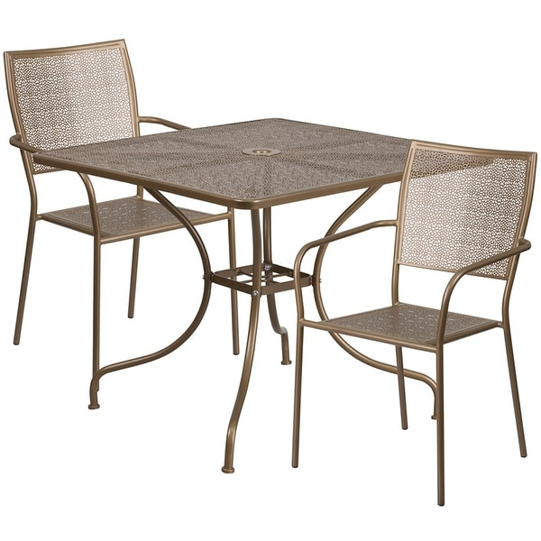 Ordinaire Sterling Square 35.5u0026#x27;u0026#x27; Gold Indoor Outdoor Steel Table
