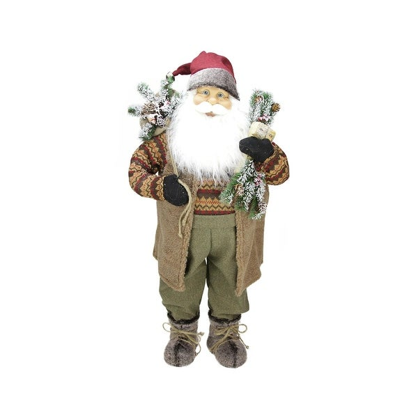 """36"""" Country Rustic Standing Santa Claus Christmas Figure - brown"""