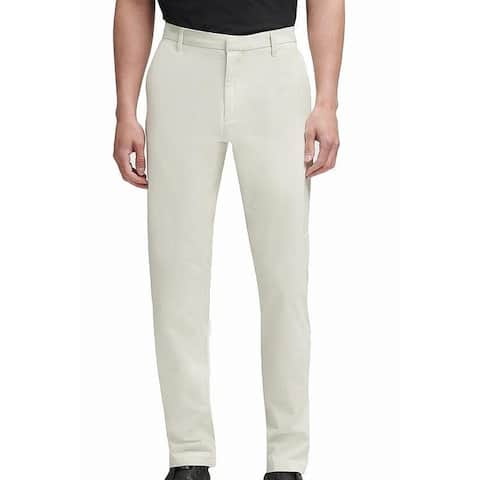 DKNY Mens Chino Pants Stone Beige Size 40x32 Bedford Straight Slim-Fit