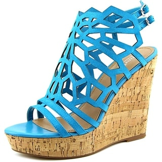 Charles By Charles David Apollo Women  Open Toe Suede Blue Wedge Heel
