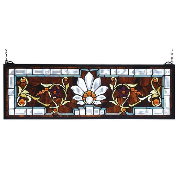 Clear-Blue Beveled and Stained Glass Window Transom