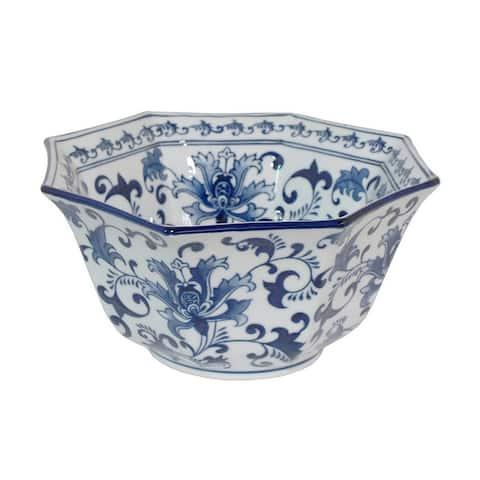 Plutus Brands Blue and White Porcelain Bowl