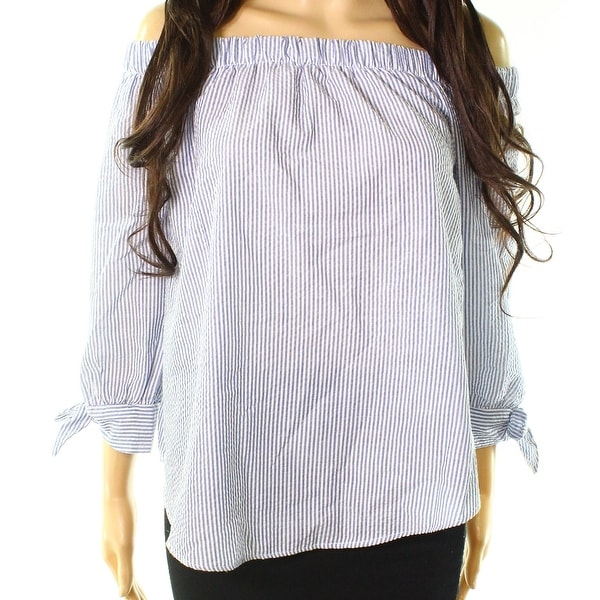 Moa Moa Ivory Blue Womens Size Small S Off-Shoulder Striped Blouse