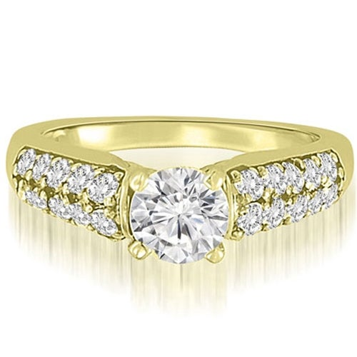 1.35 cttw. 14K Yellow Gold Cathedral Style Round Cut Diamond Engagement Ring