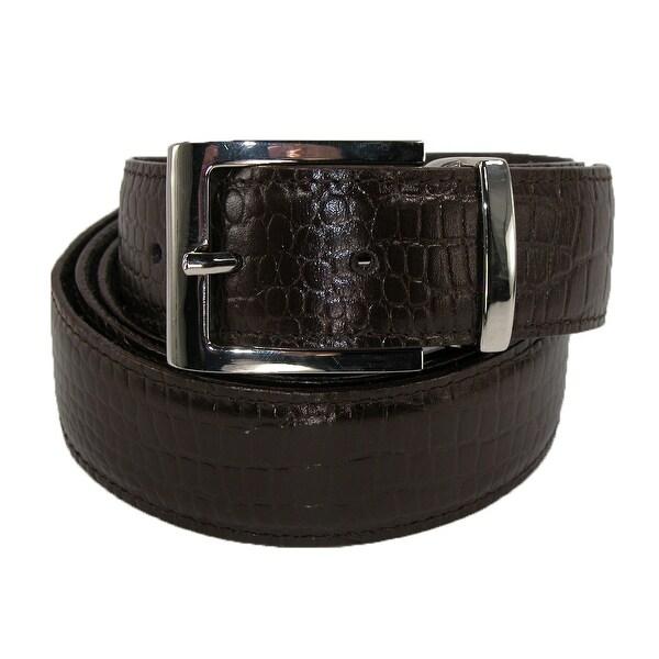 Winn International Men's Leather Croc Print 1 1/4 Inch Travel Money Belt