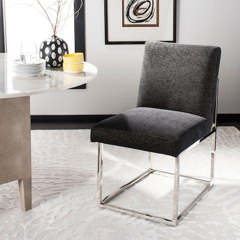 """SAFAVIEH Couture Jenette Black Velvet Commercial Grade Side Chair - 20""""w x 25.6""""d x 33.3""""h"""