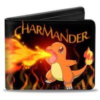 Charmander Blaze Pose Flames Black Oranges Bi Fold Wallet - One Size Fits most