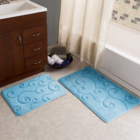 Windsor Home 2 Piece Memory Foam Bath Mat Set - Coral Fleece Embossed Pattern