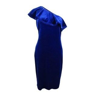 Calvin Klein Women's Velvet One-Shoulder Ruffle Dress - Sapphire