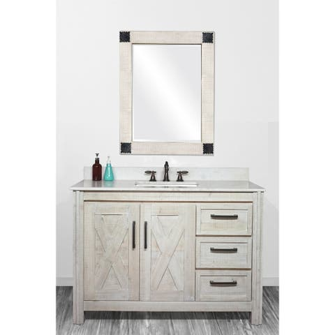 "49""Special Edition Solid Fir Wood Single Bathroom Vanity in Sawed Pattern Design and Handpainted White Color with Marble Top"