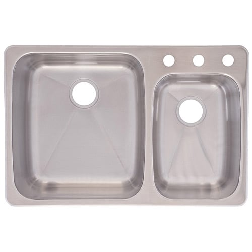 Franke USA C2233R/9 Dualmount Double Bowl Kitchen Sink, Stainless Steel    Stainless Steel