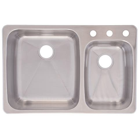 Franke USA C2233R/9 Dualmount Double Bowl Kitchen Sink, Stainless Steel - Stainless Steel