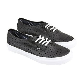 Vans Authentic Slim Mens Black Leather Lace Up Lace Up Sneakers Shoes - black/perf stars
