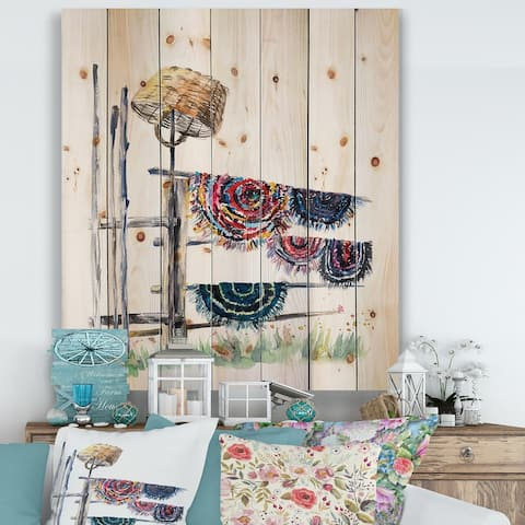 Designart 'Russian Rugs On Drying Line' Global Print on Natural Pine Wood