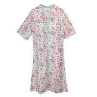 Sag Harbor Women's Short Sleeve Floral Zip Front Duster