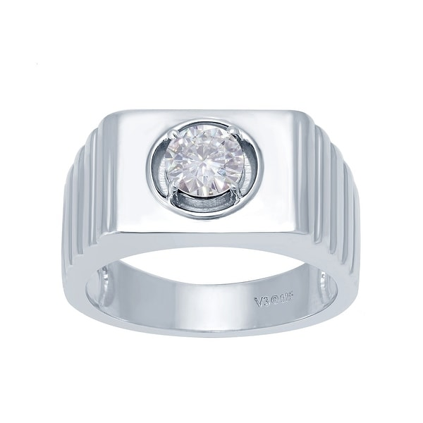 Sterling Silver with Natural Moissanite Solitaire Ring. Opens flyout.