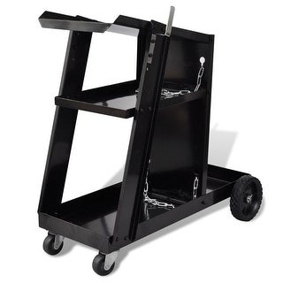 vidaXL Welding Cart Black with 3 Shelves Workshop Organizer