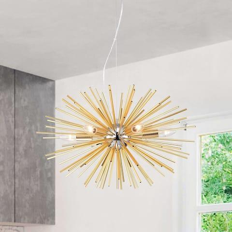 Lorena 6-Light Chrome and Frosted Gold Sputnik Chandelier