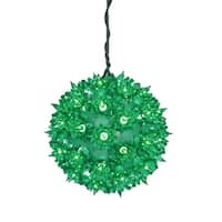 "6"" Green Lighted Starlight Hanging Sphere Christmas Ball Decoration"