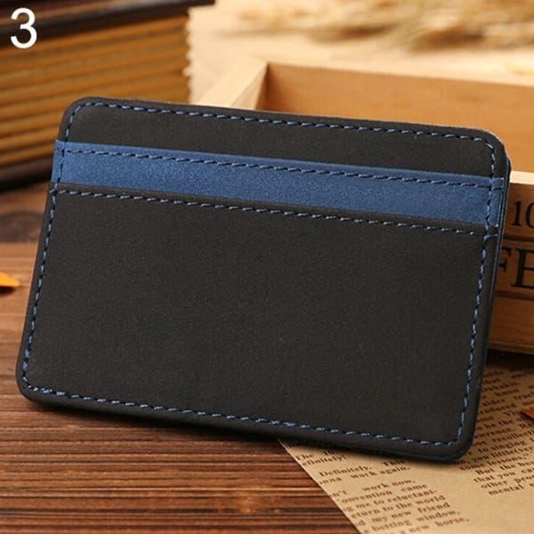 MEN Leather Magic Money Clip Slim Men Wallet ID Credit Cards Holder Case
