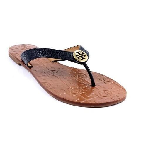 Tory Burch Women's THORA Black Tan T Logo Thong Sandals Shoes Size 5