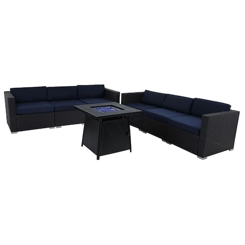 "PHI VILLA 6-Seater Patio Fire Pit sets: Table 28""×28"" 50,000BTU & Rattan Wicker Sectional Sofa"