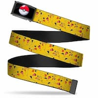 Poke Ball Fcg  Chrome Pikachu Stacked Webbing Web Belt