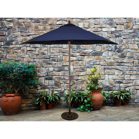 TropiShade 9' Wood Market Umbrella with Navy Cover