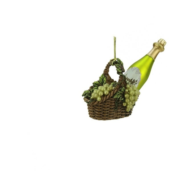 """4.5"""" Tuscan Winery Green Glass Wine Bottle in Basket Christmas Ornament"""