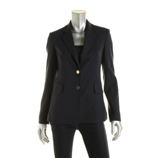 Theory Womens Teshonna Wool Notch Collar Two-Button Suit Jacket - 4