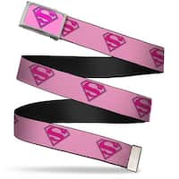 Superman Fcg Pink  Chrome Superman Shield Pink Webbing Web Belt