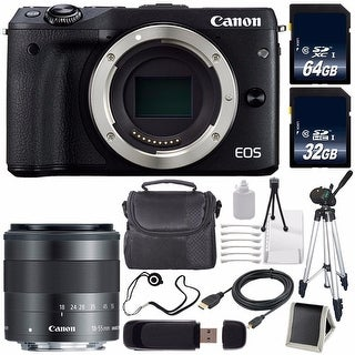 Canon EOS M3 Mark III 24.2 Mp Mirrorless Camera Black(International Model) + Canon EF-M 18-55mm Lens Saver Bundle