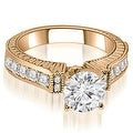 1.05 cttw. 14K Rose Gold Antique Round Cut Diamond Engagement Ring - Thumbnail 0