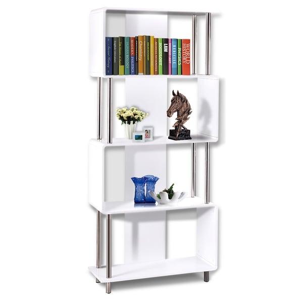 Gymax 4 Shelf Modern Industrial Style Bookcase Shelf Storage Display Unit
