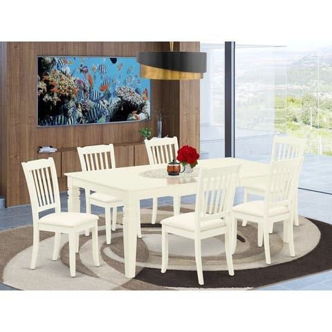 Dining Table and Kitchen Chairs in White Linen Fabric (Number of Chairs Option)