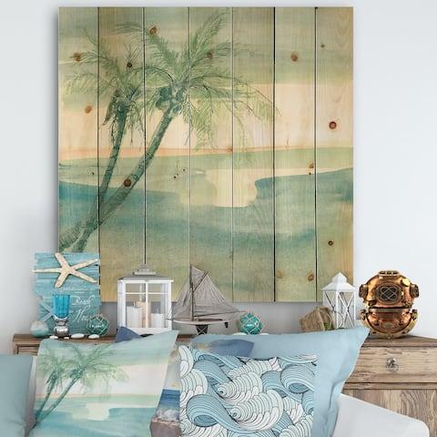 Designart 'Peaceful Dusk I Tropical' Tropical Print on Natural Pine Wood - Blue