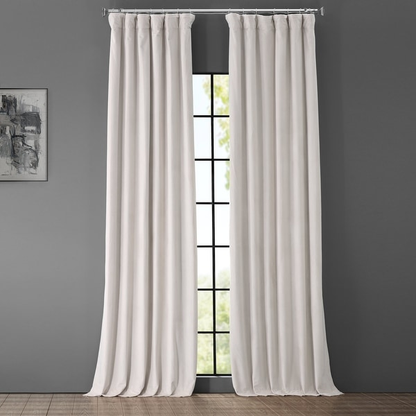 Exclusive Fabrics Signature Porcelain White Velvet Blkt Curtain Panel. Opens flyout.