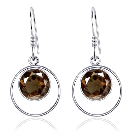 Amethyst, Citrine, Smoky Quartz Sterling Silver Round Dangle Earrings by Orchid Jewelry