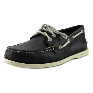 Sperry Top Sider A/O 2-Eye Men Moc Toe Leather Black Boat Shoe