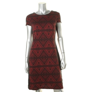 Karen Kane Womens Faux Leather Trim Jacquard Wear to Work Dress