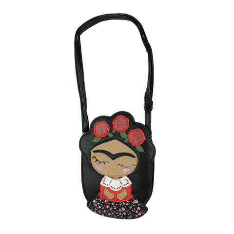 Adorable Black Vinyl Frida Mexican Woman With Flower Crown Crossbody Bag - 9.5 X 7 X 1.5 inches