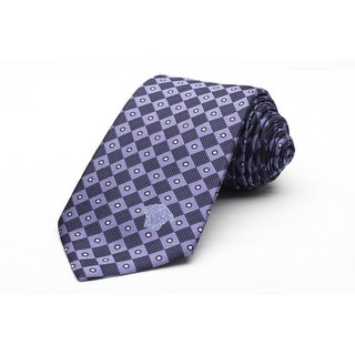 Versace Men's Medusa Logo Dotted Checkered Pattern Silk Neck Tie
