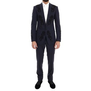 Dolce & Gabbana Blue Crystal Bee Roses Wool Stretch Suit - it46-s