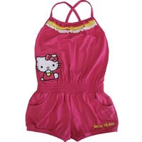 f3a07da9dc750 Sanrio Little Girls Fuchsia Hello Kitty Contrast Ruffle Trim Romper 4-6X