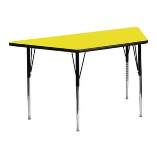 Offex 24''W x 48''L Trapezoid Activity Table with  High Pressure Yellow Laminate Top and Standard Height Adjustable Legs