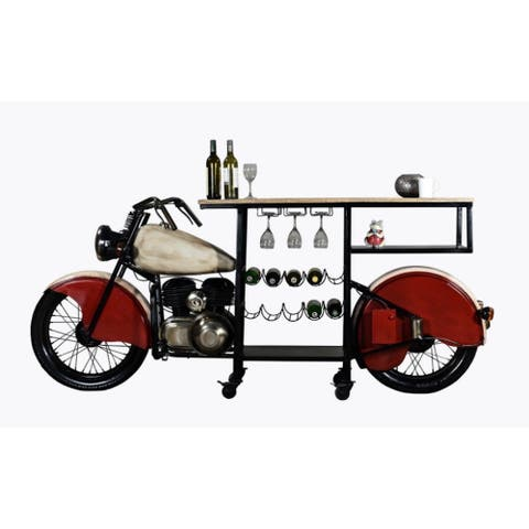 """HomeRoots 18"""" X 93"""" X 39"""" Red and White Motorcycle Wine Bar"""