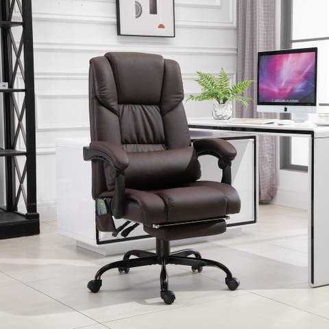 Vinsetto Office Desk Chair Recliner, Height Adjustable Movable Lumbar Support with 6-Point Vibrating Massage