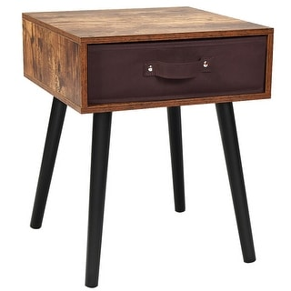 Costway Mid-Century Accent Bedside Table W/ Fabric Drawer Rustic Brown